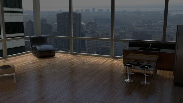 A rendered image of the interior of an urban loft.
