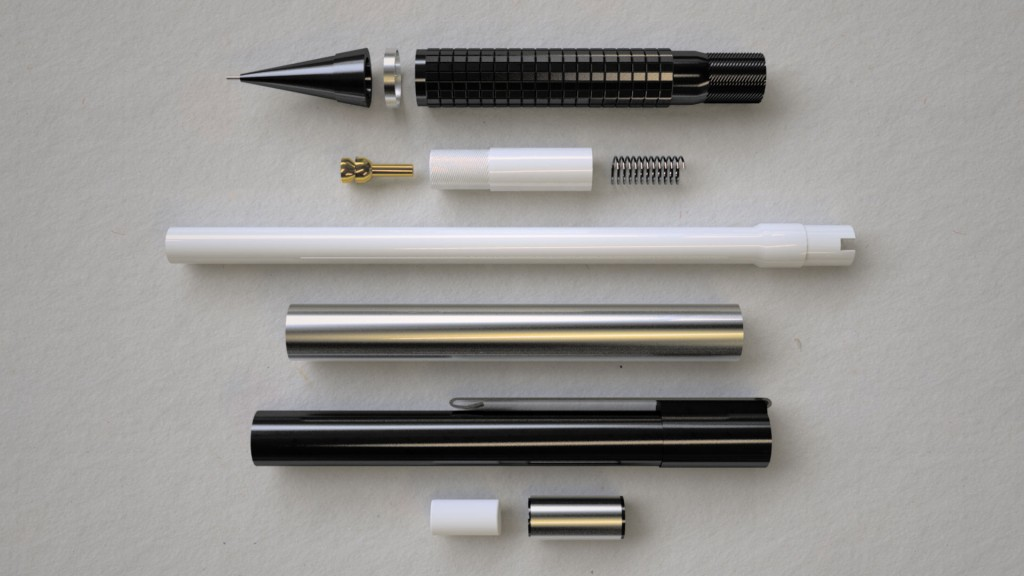 render of a mechanical pencil in many parts