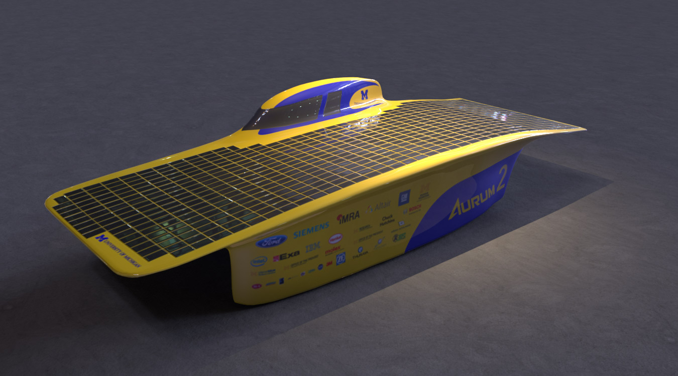 Aurum solar car render.
